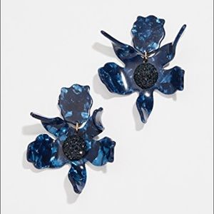 NWT Anthro Lele Sadoughi Lily Earrings in Navy